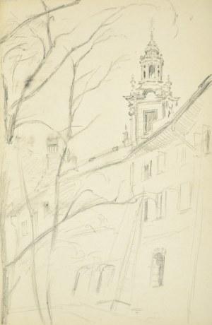 Stanisław Żurawski (1889-1976), Pejzaż miejski z wieżą kościoła