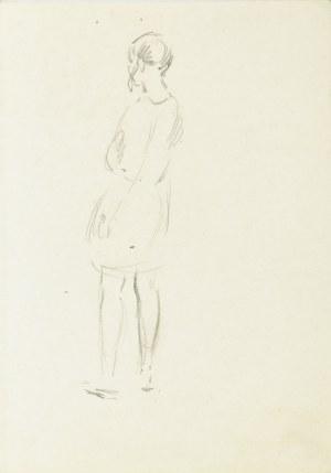 Stanisław Żurawski (1889-1976), Szkic dziewczyny z warkoczami ukazanej tyłem