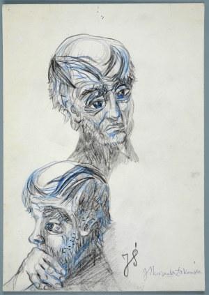 Janina Muszanka - Łakomska (1920-1982), Szkice głów mężczyzny - Portret J. Ś.