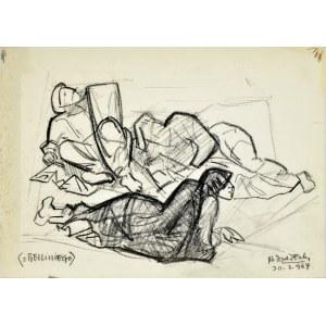 """Kazimierz Podsadecki (1904 - 1970), Leżące postacie wg fragmentu obrazu Giovanniego Belliniego """"Przemienienie"""", 1964"""