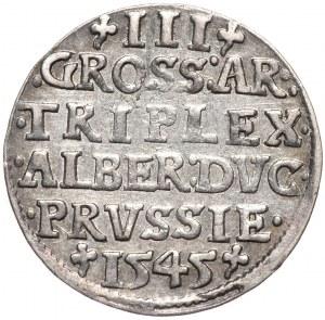 Prusy Książęce, Albrecht Hohenzollern, trojak 1545, Królewiec