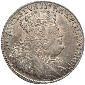 August III, ort koronny 1755, Lipsk, szerokie popiersie