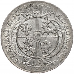 August III, ort koronny 1756, Lipsk, szerokie popiersie, otwarta