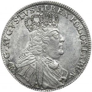 August III, ort koronny 1754, Lipsk, popiersie jak na tymfach