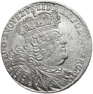 August III, Ort koronny 1755, Lipsk, szerokie popiersie, cyfry daty pochylone