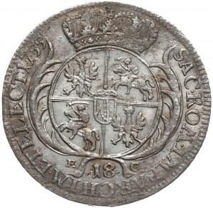 August III, Ort koronny 1755, Lipsk, szerokie popiersie,