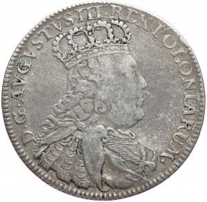 August III, dwuztotówka 1753 EC, Lipsk, smukłe popiersie, bardzo rzadka odmiana z literami OE pod popiersiem