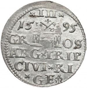 Zygmunt III Waza, trojak 1595, Ryga, nieopisany wariant interpunkcji