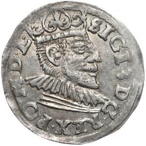 Zygmunt III Waza, trojak 1591, Poznań, wydłużona twarz króla, przebitka błędu na rewersie GOOS na GROS