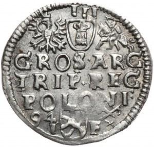 Zygmunt III Waza, trojak 1594, Poznań, wydłużona twarz króla, końcówka legendy MDL