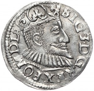 Zygmunt III Waza, trojak 1594, Poznań, wydłużona twarz władcy, nieopisany znak/ozdobnik kończy napis otokowy na rewersie