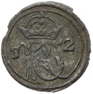 Jan Kazimierz, szeląg 1652, Wilno, 5-2 po bokach monogramu, pod Pogonią herb Gozdawa i 360