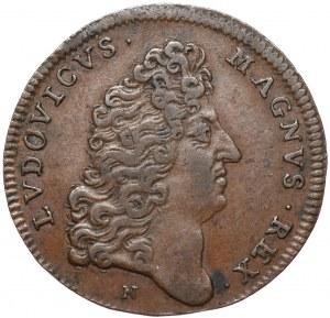 Jan Kazimierz, Żeton po abdykacji z portretem i tytulaturą Ludwika XIV, 1669, Montpellier