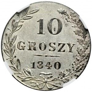 Zabór rosyjski, Mikołaj I, 10 groszy 1840 MW, Warszawa