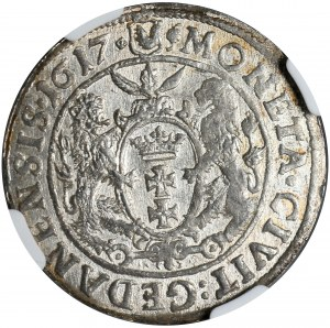 Kolekcja ortów polskich, ort 1617, Gdańsk, NGC MS 61, korona w herbie Gdańska z dużą rozetą umieszczoną zamiast lilii heraldycznej
