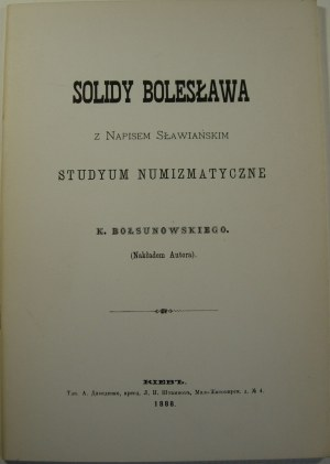 K. Bołsunowski, Solidy Bolesława z napisem słowiańskim