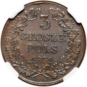 Powstanie Listopadowe, 3 grosze 1831, łapy Orła proste