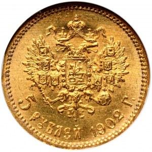 Rosja, Mikołaj II, 5 rubli 1902 AP, Petersburg - w historycznym slabie z I połowy lat 90-tych