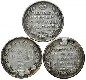 Rosja, zestaw połtina 1818, 1819, 1851 - razem 3 szt.