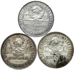 ZSRR, zestaw 3x 50 kopiejek 1924, 1925,1926