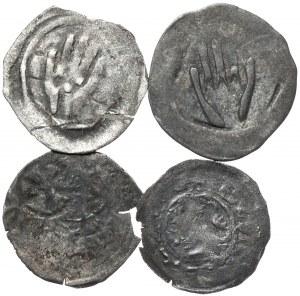 Austria, Niemcy, zestaw średnioweiecznych monet - razem 4 szt.