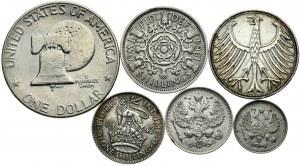 Zestaw 6 monet RFN, Rosja, W.Brytania, USA