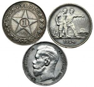 Rosja-ZSRR, zestaw monet - rubel 1896* Paryż, 1921 AГ, 1924 ПЛ