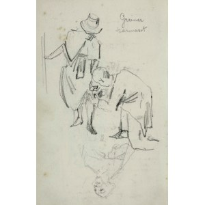 Stanisław Kaczor Batowski (1866-1945), U krawca - Kobieta pochylająca się i klęczący przy niej mężczyzna trzymający rąbek jej sukienki oraz szkic popiersia duchownego