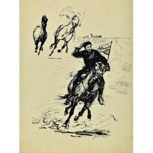 Ludwik Antoni Maciąg (1920-2007), Szkice pędzącego jeźdźca na koniu i konia w galopie