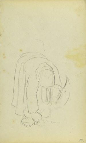 Jacek Malczewski (1854-1929), Wiejska kobieta z koszem pochylona, zbierająca płody