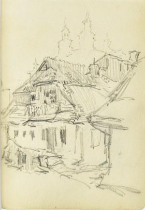 Józef Pieniążek (1888-1953), Zabudowania miejskie z wieżami kościelnymi w tle