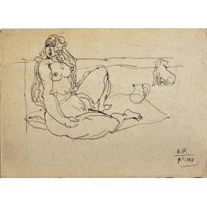Kazimierz Podsadecki (1904 - 1970), Naga siedząca kobieta i pies, 1968