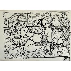 Kazimierz Podsadecki (1904 - 1970), Nagie kobiety na plaży, 1963