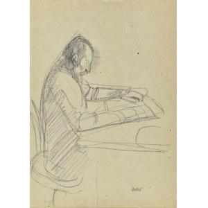 Wojciech Weiss (1875-1950), Mężczyzna czytający przy stole - Portret ojca artysty Stanisława, 1914
