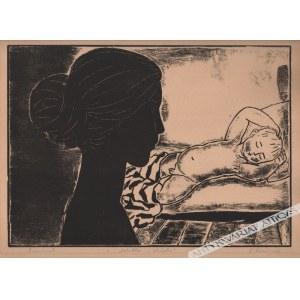 Tadeusz Dominik (Ur. 1928), [grafika, 1955] Matka i dziecko