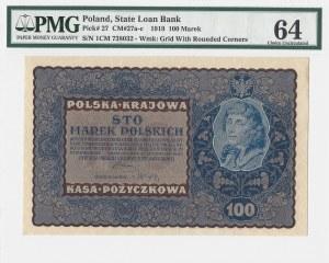 100 marek 1919 - IC Serja M - PMG 64