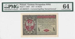 1/2 marki 1916 - Generał - seria B - PMG 64