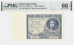 5 złotych 1930 - seria CK - PMG 66 EPQ