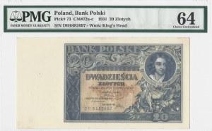 20 złotych 1931 - seria DH - PMG 64
