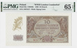 10 złotych 1940 - seria L. - WWII London Counterfeit - PMG 65 EPQ