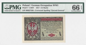 1/2 marki 1916 - Generał - seria B - PMG 66 EPQ