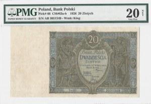 20 złotych 1926 - seria AB - PMG 20 NET - RZADKI