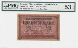 KOWNO - 1/2 marki 1918 - PMG 53 EPQ