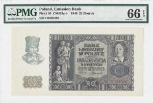 20 złotych 1940 - seria O - PMG 66 EPQ