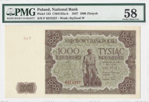 1.000 złotych 1947 - seria F - PMG 58
