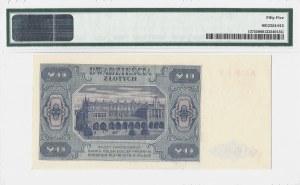 20 złotych 1948 - seria A - PMG 55 - Rzadsza jednoliterowa seria