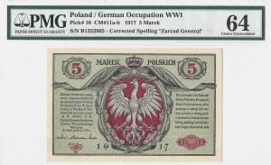5 marek polskich 1916 - Generał biletów seria B - RZADKA - PMG 64