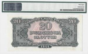 20 złotych 1944 - rosyjski system oznaczenia serii вA - obowiązkowe - PMG 58