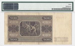 500 złotych 1948 - seria C - PMG 30 - RZADKA jednoliterowa seria