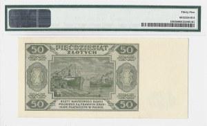 50 złotych 1948 - seria E numeracja 6 cyfrowa - PMG 35 - RZADKA